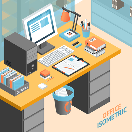 day planner: Office room work place isometric design concept with tools and storage space vector illustration