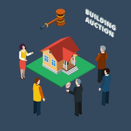 auctioneer: Building auction isometric flat icon set with binding people and female auctioneer vector illustration