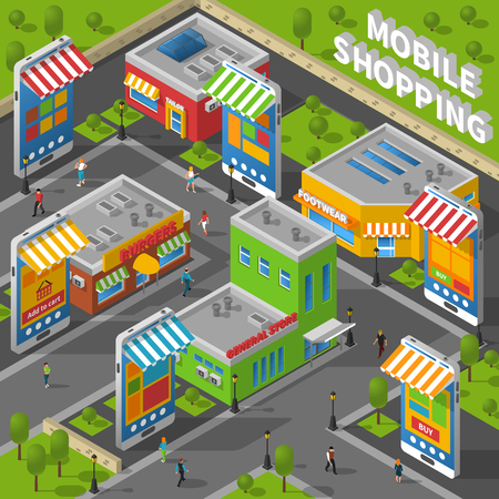 real people: Isometric image with people walking the street with real shops and smartphone-shaped online shops nearby vector illustration