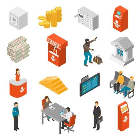 office theft: Bank Icons Set. Bank Isometric Vector Illustration. Bank Flat Symbols. Bank Design Set. Bank Elements Collection. Illustration