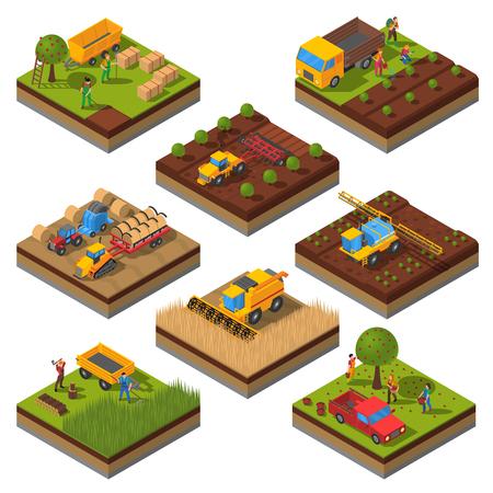 Isometrische set met geïsoleerde platen van de velden en landbouwmachines oogsten en de mensen bijsnijden vector illustratie