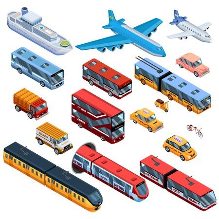 等尺性のアイコン空気水の設定し、市バス市路面電車飛行機と配信自動車分離ベクトル図と旅客輸送の土地