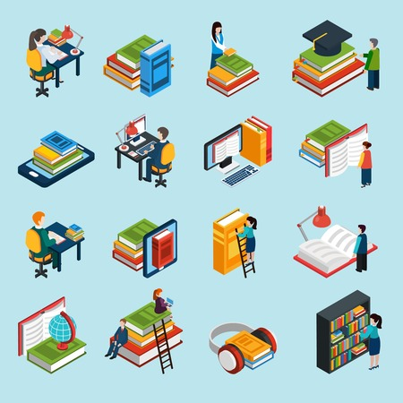 books isolated: Isometric abstract library icons set of classic audio and electronic books with reading people isolated vector illustration