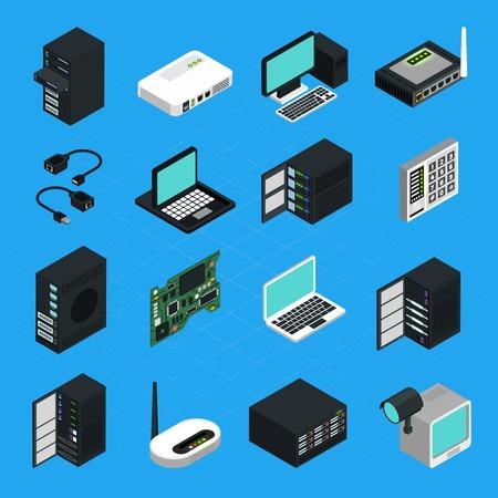 Iconos conjunto de diferentes equipos electrónicos para la creación de redes aisladas servidor de centro de datos y equipos de seguridad isométrica ilustración vectorial