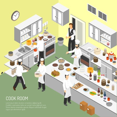 piatto: Restaurant cooking room with chefs commercial equipment for frying and baking dishes isometric poster abstract vector illustration Vettoriali