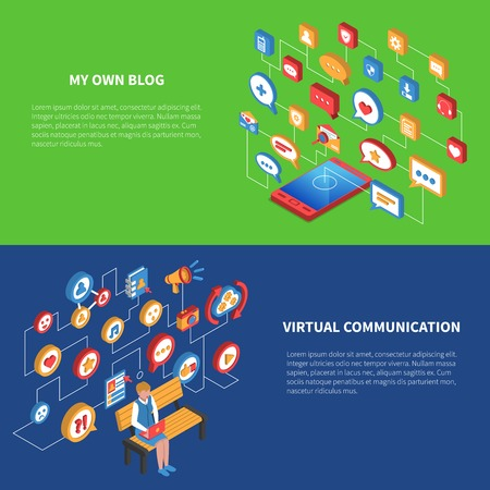 Isometric banner set with two variants of using social network by laptop and tablet vector illustration