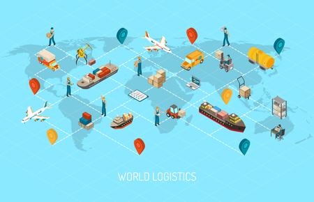 Internationaal logistiek bedrijf wereldwijde activiteiten met lading distributie verzending en vervoer in kaart isometrische poster abstract vector illustratie