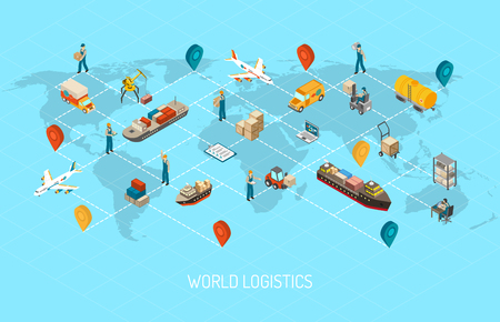 International logistic company worldwide operations with cargo distribution shipment and transportations map isometric poster abstract vector illustration Reklamní fotografie - 56989745