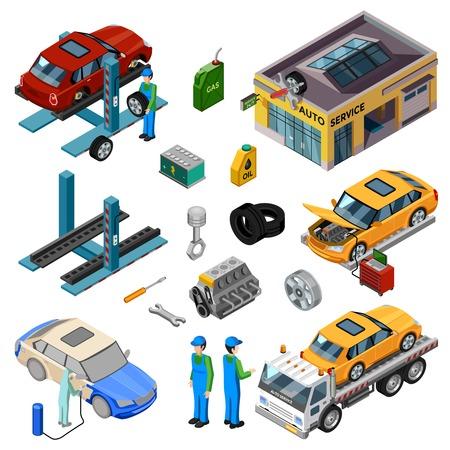 Samochodów izometrycznej dekoracyjne ikony zestaw z warsztatem holowania ciężarówki mechanik narzędzi do naprawy i pracy personelu ilustracji wektorowych