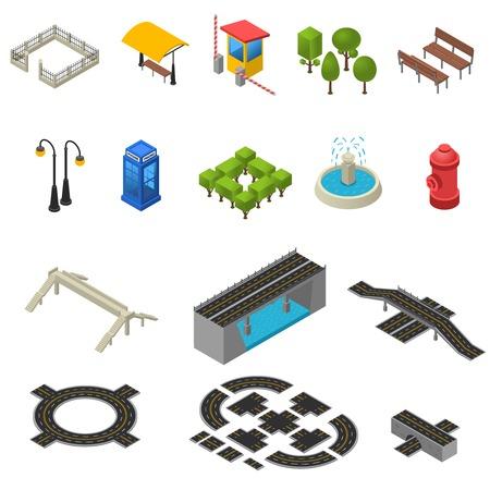 fence: City Isometric Objects. City Icons Set. City Vector Illustration.City Map Symbols. City Design Set.  City Map Elements Collection. Illustration