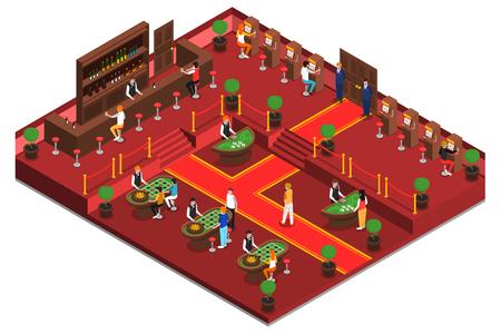 Casino isometrische interieur met game room bar slots en het spelen van de mensen vectorillustratie