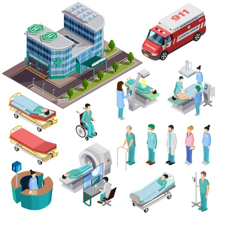 pacientes: iconos isométrica de un hospital aislado Conjunto de coches ambulancia pacientes de equipos de diagnóstico y clínica de construcción ilustración vectorial personal médico