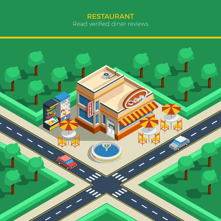 sidewalk: Top view on isometric city landscape with crossroad restaurant building fountain and tables under umbrellas on sidewalk vector illustration