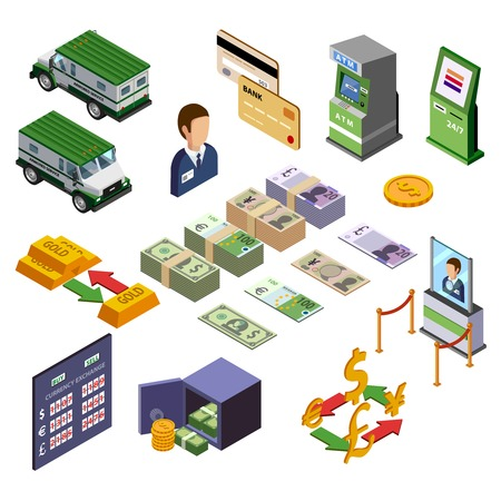 armored safes: Banking isometric icons set of payment terminal armored trucks credit cards and cash vector illustration