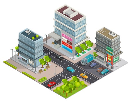 business district: City shopping center in business district area street view with buildings complex and parking isometric vector illustration Illustration