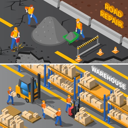road construction: Workers Isometric Concept. Road Workers Horizontal Banners. Construction Workers Vector Illustration. Warehouse Workers Set. Workers Design Symbols.Workers Elements Collection. Worker People Compositions.