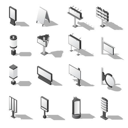 Street Advertising Icons Set. Signboard Isometric Vector Illustration. Advertising Billboards Symbols. Blank Billboards Design Set. Signboards  Templates Collection. Billboards Isometric Vector Illustration.