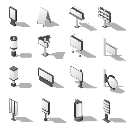 persuading: Street Advertising Icons Set. Signboard Isometric Vector Illustration. Advertising Billboards Symbols. Blank Billboards Design Set. Signboards  Templates Collection. Billboards Isometric Vector Illustration.