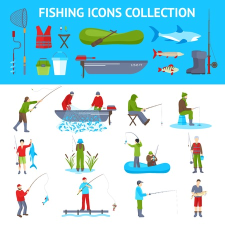 motorboat: Fishing gear and equipment flat icons collection with fisherman in motorboat catching fish banners abstract vector illustration