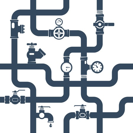 Pipes System Concept. Pipes Vector Illustration.Pipes Black White Flat Symbols. Pipes Black Design Set. Pipes System Decorative Elements.