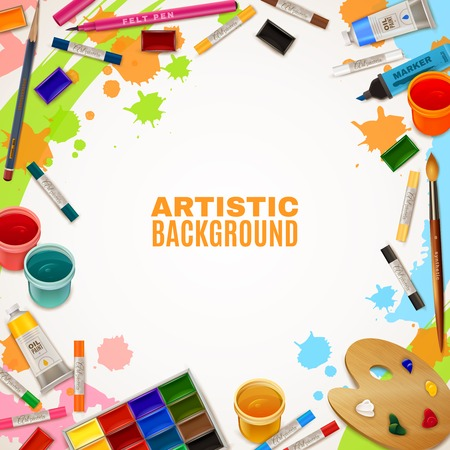 art supplies: Artistic background with white empty place for text in center and decorative elements around representing art supplies for paintings vector illustration