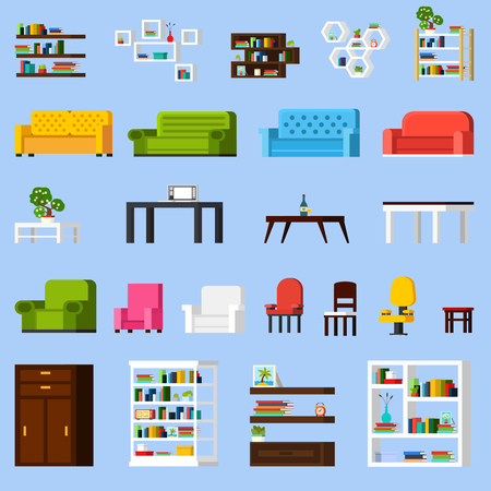 orthogonal: Interior elements orthogonal icon set of different bookshelves sofas tables armchairs chairs and racks isolated vector illustration