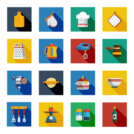 utensils: Cooking Shadow Icons Set. Kitchen Square Elements. Cooking Vector Illustration. Kitchen Flat Symbols. Cooking Design Set. Kitchen Objects Collection. Illustration