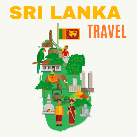 Color flat illustration depicting all features Sri Lunka culture on map of island vector illustration