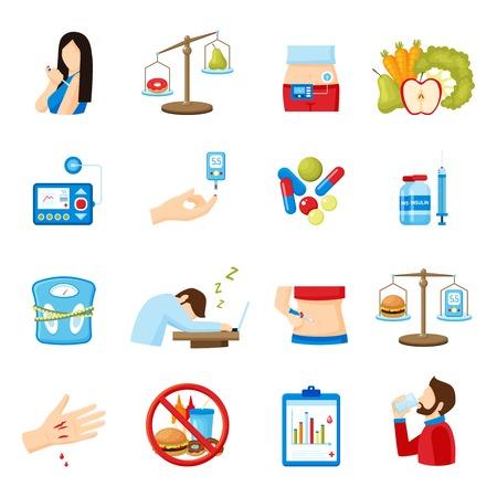 inyeccion: signos y síntomas de la diabetes Colección de los iconos plana con el estilo de vida saludable y la inyección de insulina resumen ilustración vectorial aislado
