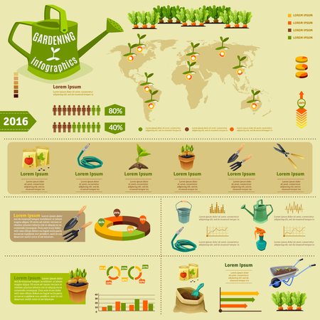seedlings: Gardening infographic layout with zoning of seedlings information garden tools presentation and statistics of using fertilizer flat vector illustration Illustration