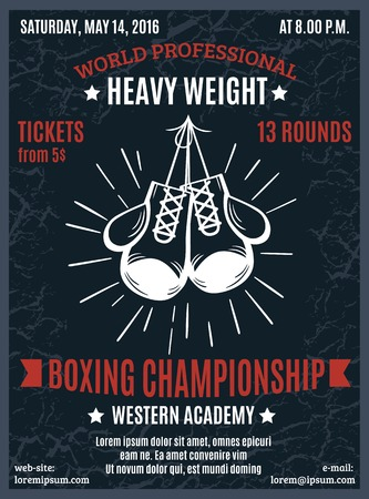 ringside: Boxing professional championship poster with heavy weight battle advertising and white boxer gloves in black background  vector illustration Illustration