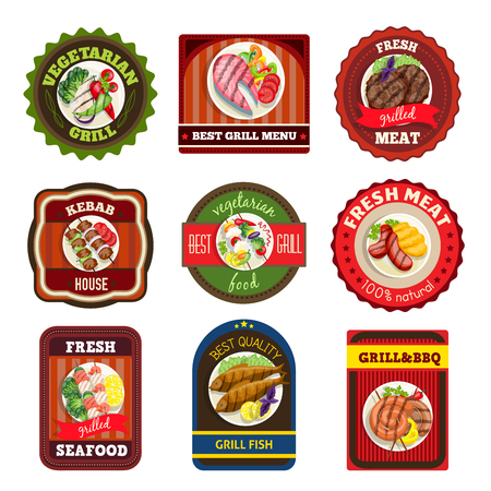 fresh seafood: Grill dishes emblems kebab house vegetarian meal fresh seafood meat bbq vector illustration Illustration