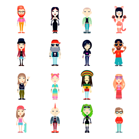 subcultures: Subcultures Icons Set. Subcultures Vector Illustration. Subcultures People Flat Symbols.Subcultures  Design Set. Subcultures Isolated Set. Illustration