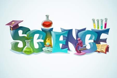 scientific research: Science concept with decorative inscription and laboratory equipment for biology and chemistry scientific research colorful poster vector illustration Illustration