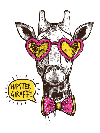 anthropomorphic: Hipster giraffe portrait in stylish pink heart glasses and bow-tie vector illustration
