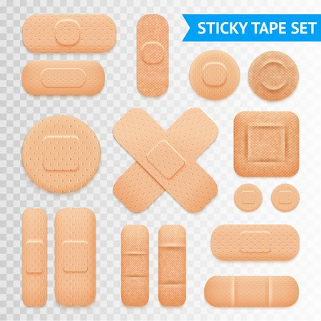 aid: Medical adhesive waterproof aid band plaster strips varieties icons collection with transparent background realistic vector illustration