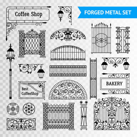 castings: Ornamented iron castings steel forged fences elements set with gates railing and vintage shop signs black vector illustration