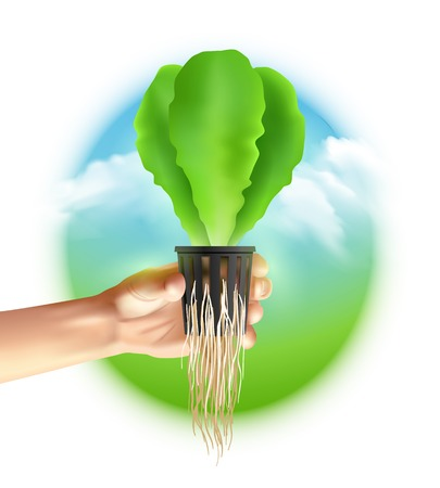 recirculate: Hydroponics system colored poster big circle in the middle where there hand with seedlings on landscape background vector illustration