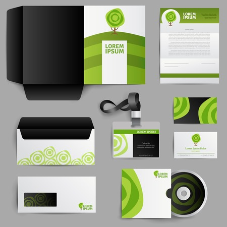 book logo: Corporate identity eco design of envelope postcard invitation badge with green tree icons isolated vector illustration