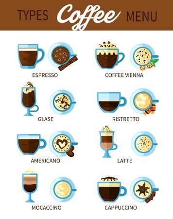 Kaffee 2x2 Design-Konzept Reihe Von Verschiedenen Arten Von Kaffee ...