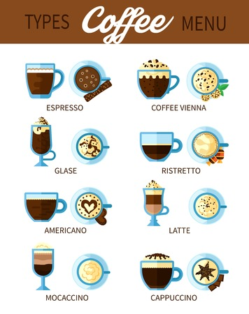 cappuccino: Set of different types of coffee drinks for coffeehouse or bar menu with americano espresso cappuccino ristretto latte flat vector illustration Illustration