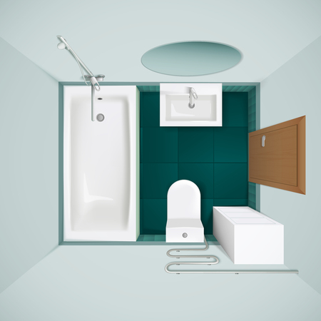 Little Bathroom With Green Floor Tiles Bathtub Toilet Bowl And Sink Realistic Top View Image Vector