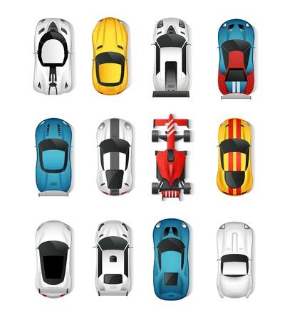 Sport Cars Top Vista de conjunto de iconos. Coches de carreras aislado de la ilustración del vector. Rally de Coches Escenografía. Coches deportivos de dibujos animados conjunto decorativo. Ilustración de vector