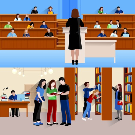 Two horizontal banners with students at university listening lecturer and preparing for exams isolated vector illustration