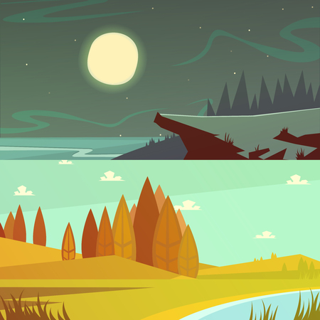 daytime: Camping and nature at daytime and night horizontal cartoon banners set isolated  vector illustration