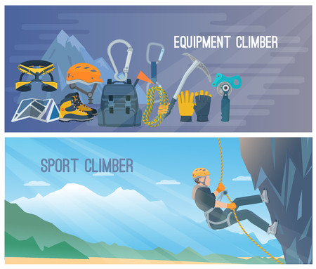 harness: Horizontal color banners with title about climber equipment and sport vector illustration