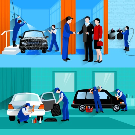 waterless: Car wash full service center 2 flat banners with customers and waterless detailers spray abstract vector isolated illustration Illustration