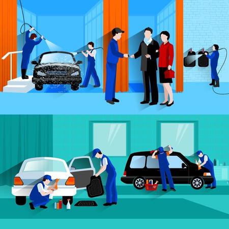 Myjnia samochodowa centrum full service 2 płaskie transparenty z klientami i projektantami bezwodnych sprayu abstrakcyjny wektor pojedyncze ilustracji Ilustracje wektorowe