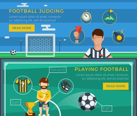 bannière football: Football banner set avec des exemples d'un équipement ordinaire du juge et le joueur illustration vectorielle