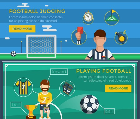 football judge: Football banner set with examples of an ordinary equipment of the judge and the player vector illustration